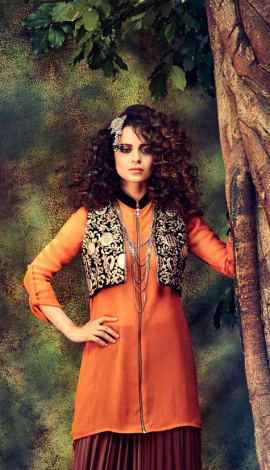 Orange Net Salwar Kameez