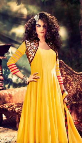Yellow Net Salwar Kameez