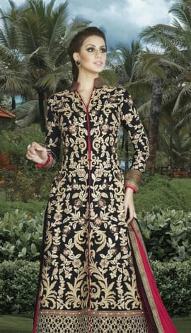 Black & Pink Silk Salwar Kameez