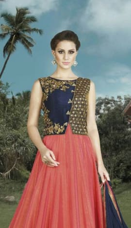 Light Orange & Navy Blue Banglori Silk Salwar Kameez
