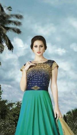 Multi Blue Nett Salwar Kameez