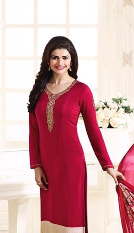 Red Crape Salwar Kameez