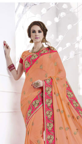 Light Peach  Pink Soft Silk , Silk Jacquard Saree