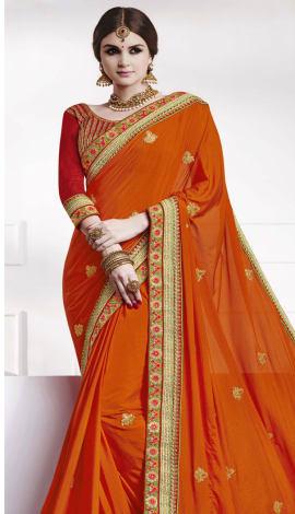 Dark Orange Soft Silk , Silk Jacquard Saree