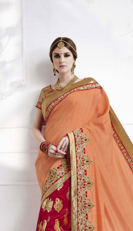 Maroon , Light Peach Soft Silk , Silk Jacquard Saree