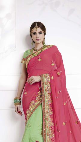 Pink , Pastel Green Soft Silk , Silk Jacquard Saree