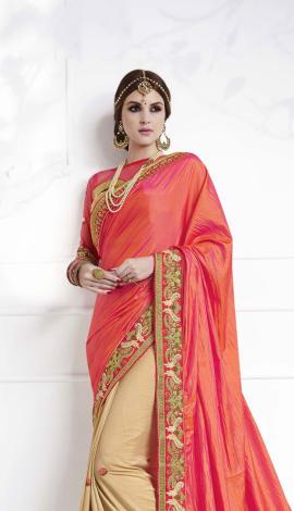 Beige , Pink Soft Silk , Silk Jacquard Saree