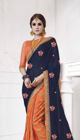 Dark Blue , Orange Softr  Silk , Silk Jacquard Saree