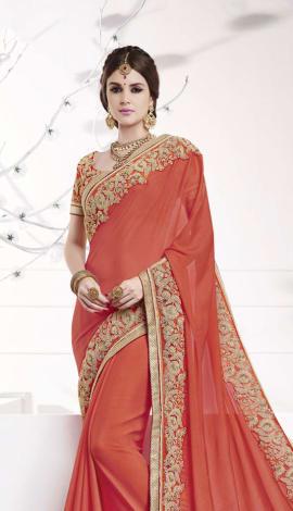 Orange Softr  Silk , Silk Jacquard Saree