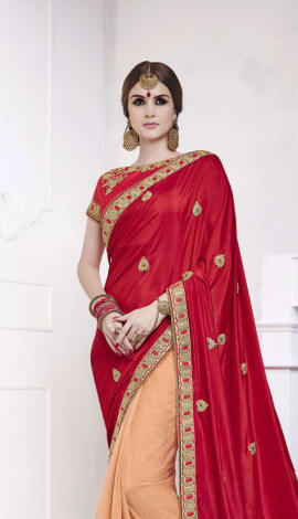 Dark Red , Light Peach Softr  Silk , Silk Jacquard Saree