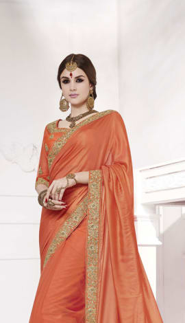 Orange Softr  Silk , Silk Jacquard Saree