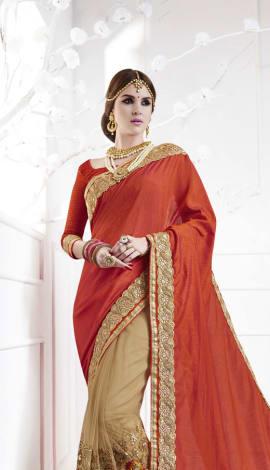 Saffron , Beige Softr  Silk , Silk Jacquard Saree