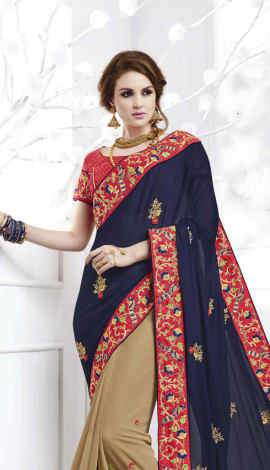 Dark Blue , Beige Softr  Silk , Silk Jacquard Saree