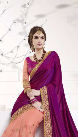 Magenta , Light Pink Softr  Silk , Silk Jacquard Saree