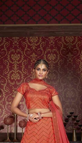 Orange Silk Lehenga