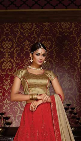 Red & Golden Silk Lehenga