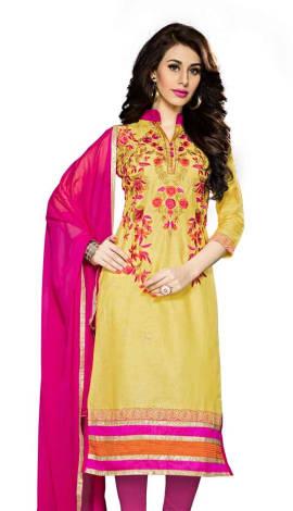 Yellow Cambric Cotton Salwar Kameez