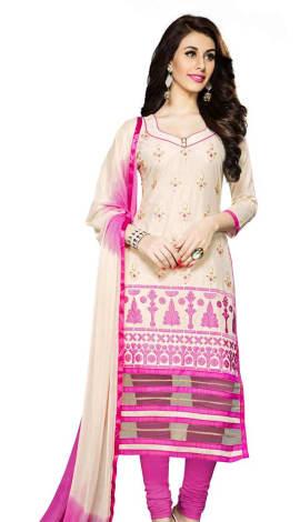 Cream Cambric Cotton Salwar Kameez