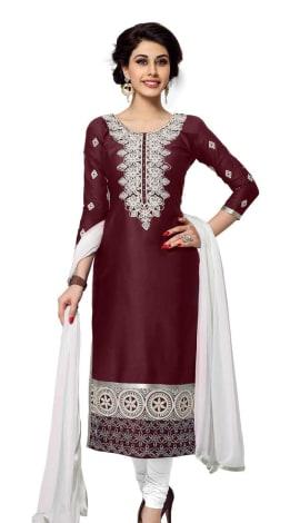 Burgandy Cambric Cotton Salwar Kameez