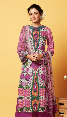 Light Pink Cotton Satin Salwar Kameez