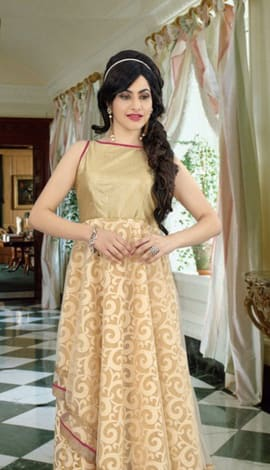 Beige Georgette Gowns