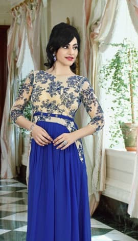 Royal Blue Georgette Gowns