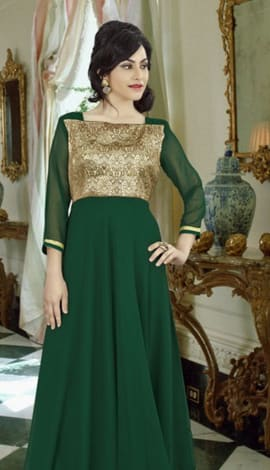 Bottle Green Georgette Gowns
