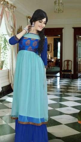 Aqua Blue & Royal Blue Georgette Gowns