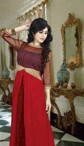 Brown & Red Georgette Gowns