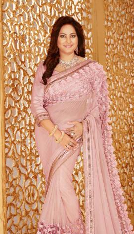 Light Pink Lycra Net Saree