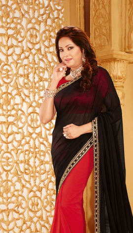 Black & Red Lycra Net & Net Saree