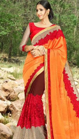 Orange & Brown Satin Silk & Georgette Saree