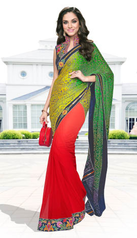 Green, Yellow & Red Crepe Silk & Georgette Saree