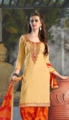 Cream Cotton Salwar Kameez