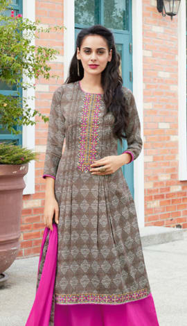 Light Brown Cotton Salwar Kameez