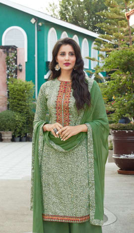 Light Green Cotton Salwar Kameez