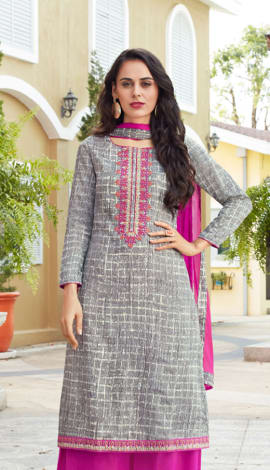 Pale Grey Cotton Salwar Kameez