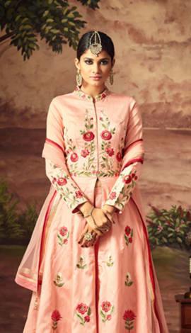 Peach Art Silk Salwar Kameez