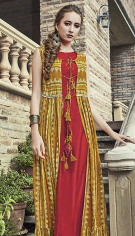 Red & Musturd Yellow Silk & Rayon Salwar Kameez
