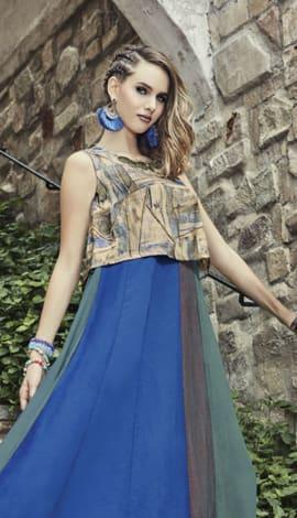 Blue Jacquard Silk & Rayon Salwar Kameez