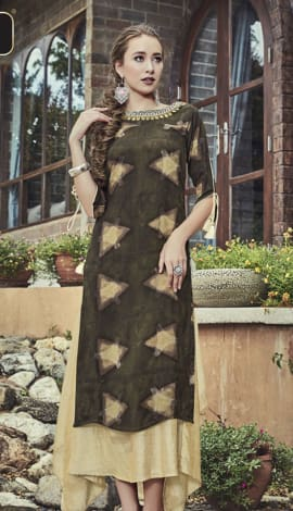 Brown & Beige Rayon & Art Silk Salwar Kameez