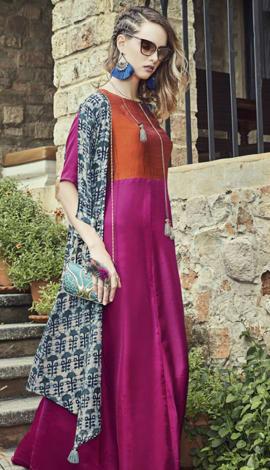 Dark Pink Art Silk & Rayon Salwar Kameez