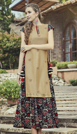 Chanderi & Cotton Beige & Black Salwar Kameez