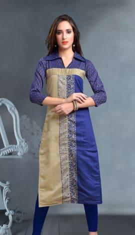 Blue Igatpuri Silk&Cotton Jacquard Kurti