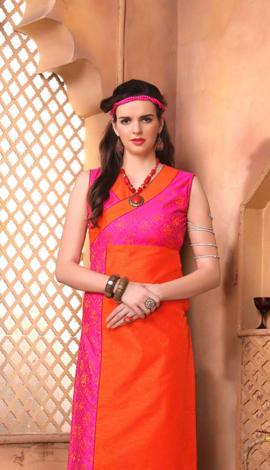 Pink Banglory Silk &Paper Silk Print Kurti