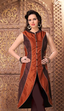 Brown Banglory Silk Kurti