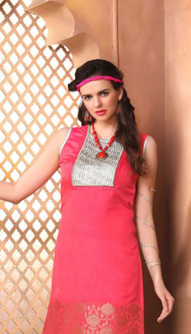 Pink Jacquard Paper Silk &Crush Brocade Kurti