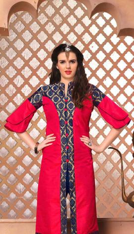 Pink Jacquard Silk& Banarasi Silk Kurti
