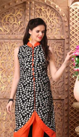 Black Rayon Print &Banglory Silk Kurti