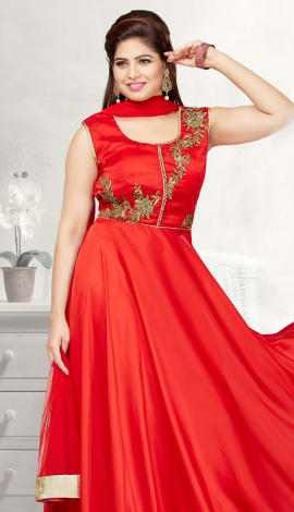 Red Tufeeta Gowns